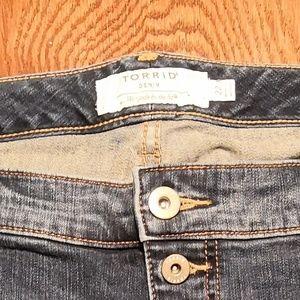 torrid Jeans - Torrid Button Fly Distressed Skinny Jeans 22